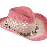 Coral cowboy hat with flower garland