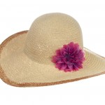 Floppy hat with pink flower