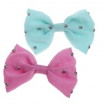 Pink and blue bow with silver balls