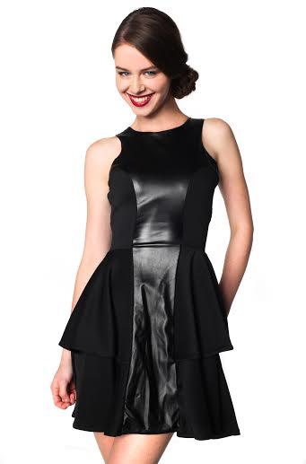czarna sukienka skater z panelem z PU