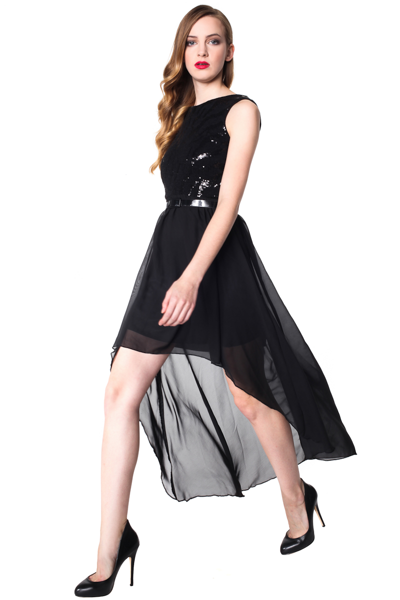 czarna sukienka z szyfonowym dołem 3